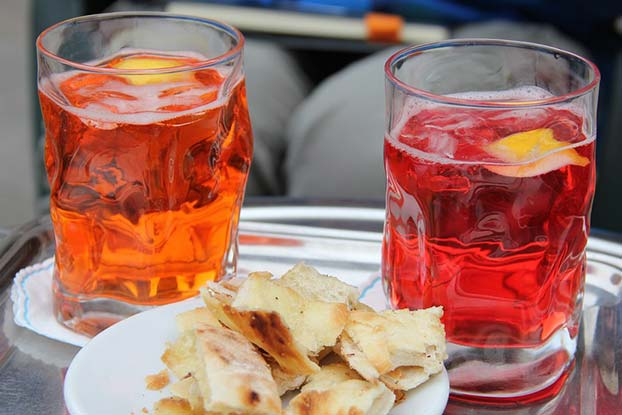 spritz made with prosecco and aperol or campari