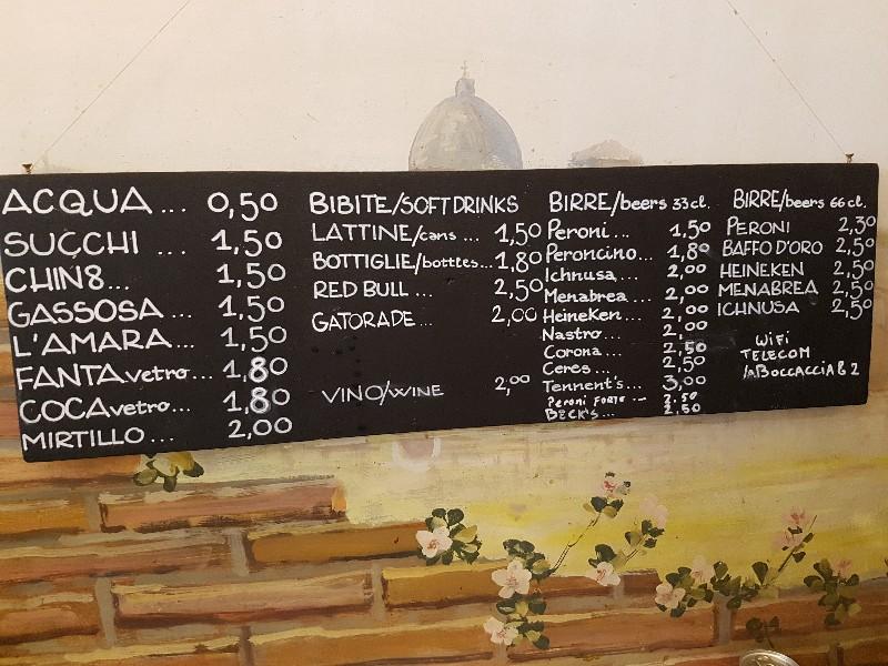 Pricelist for the drinks pizzeria in trastevere