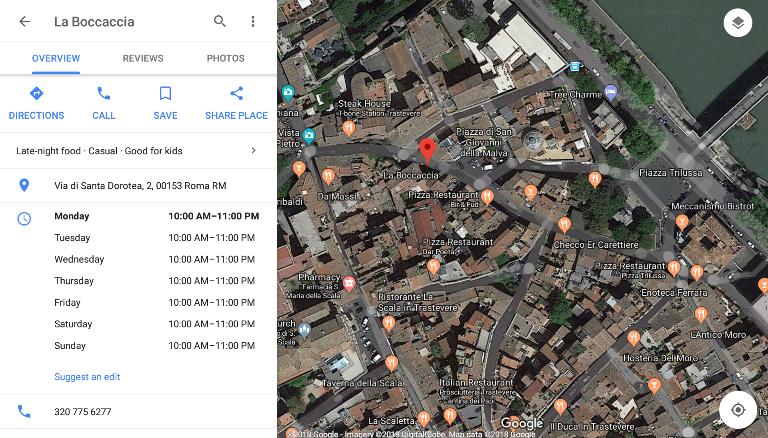 La Boccaccia on the map
