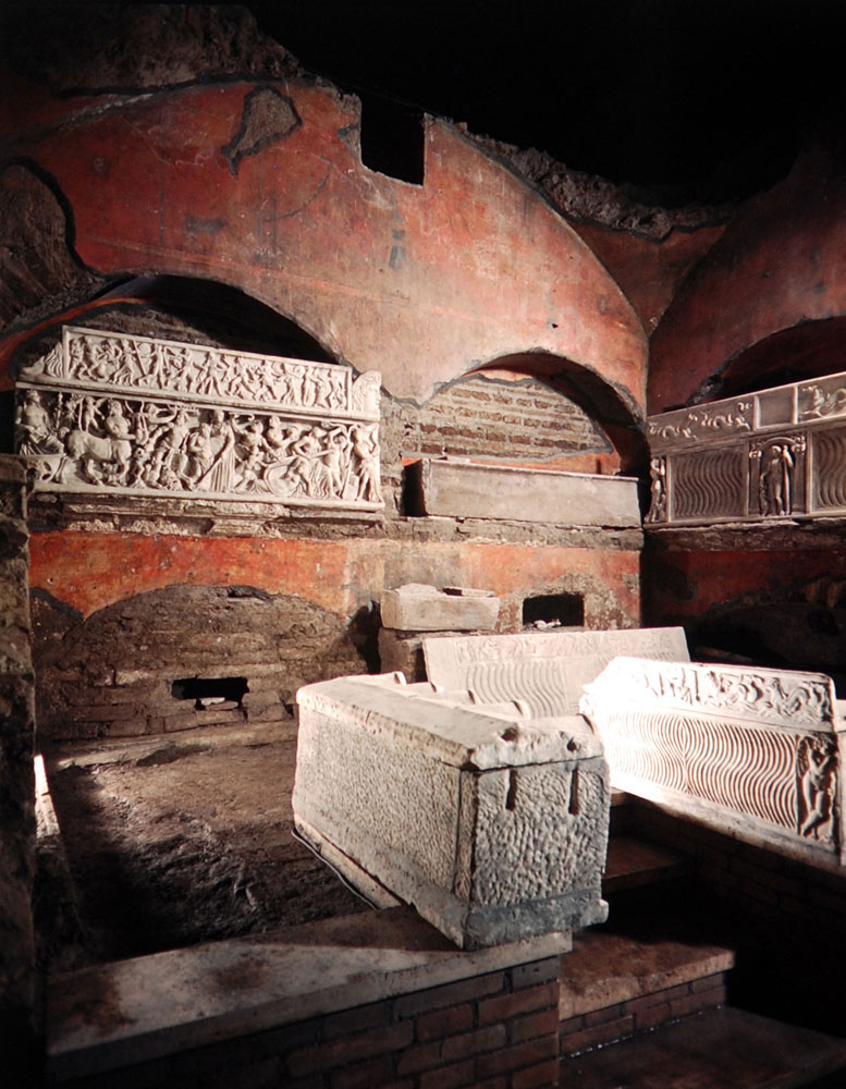 a burial chamber inside the catacombs of the vatican