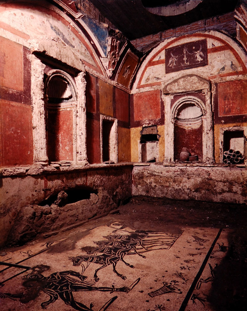 beautifully decorated burial chamber with a mosaic floor