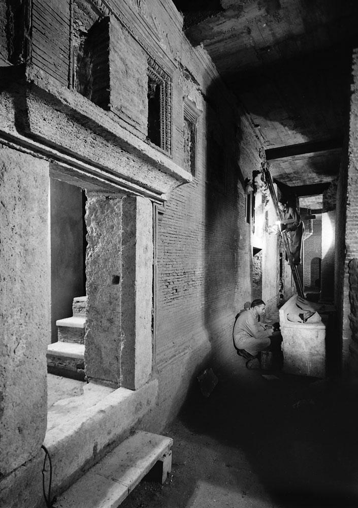 corridors and tunnels belong to both - ancient basilica and pagan catacombs